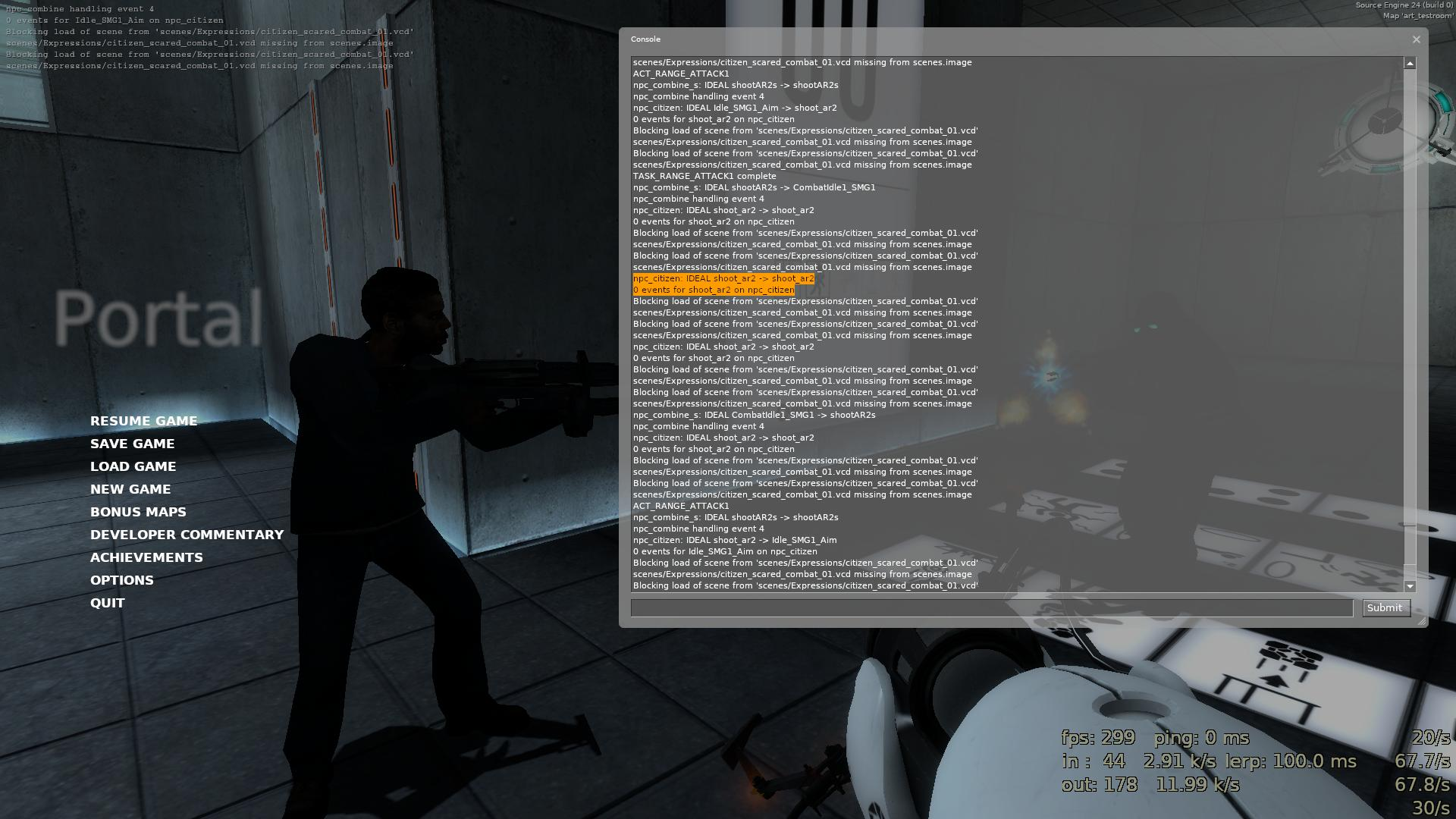 Diagnostic messages in a Portal binary