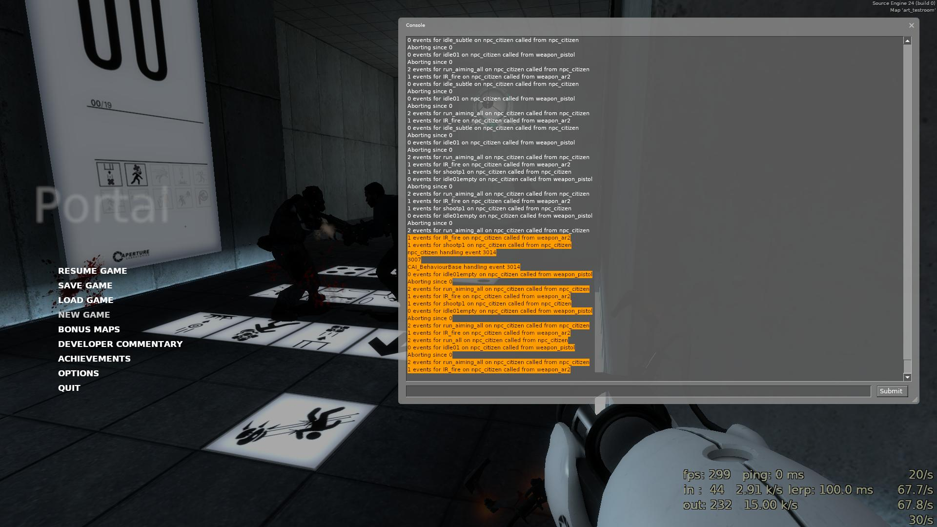 Diagnostic messages in a Portal binary with extra output from DispatchAnimEvents